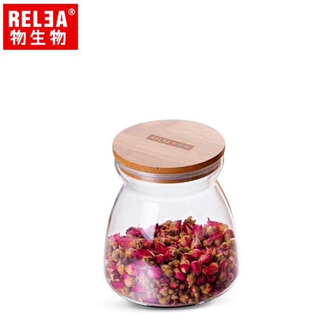 買1送1【香港RELEA物生物】700ml竹蓋梯形耐熱玻璃儲物罐