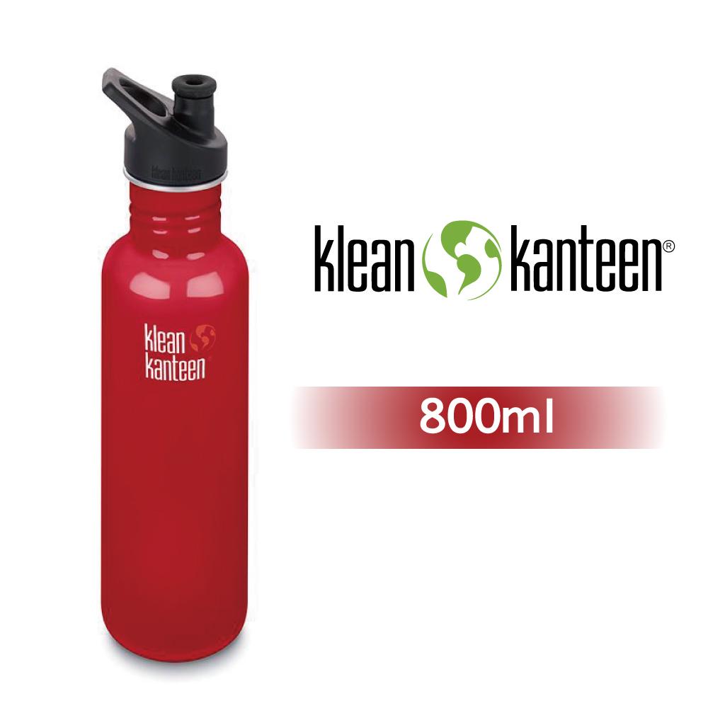 【美國Klean Kanteen】窄口不鏽鋼水瓶-800ml-寶石紅