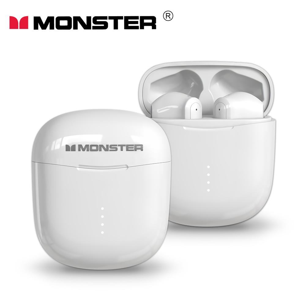 MONSTER Clarity 107 AirLinks 藍牙5.0無線耳機(加贈招財貓造型保護套)-象牙白