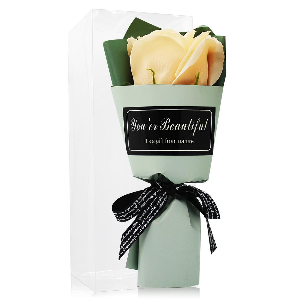 O'Pretty 歐沛媞 浪漫玫瑰香皂花束-鵝黃(17cm)[附外盒]-婚禮小物宴客禮物適用