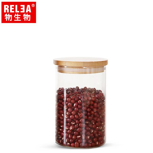 買1送1【香港RELEA物生物】450ml竹蓋長筒耐熱玻璃儲物罐
