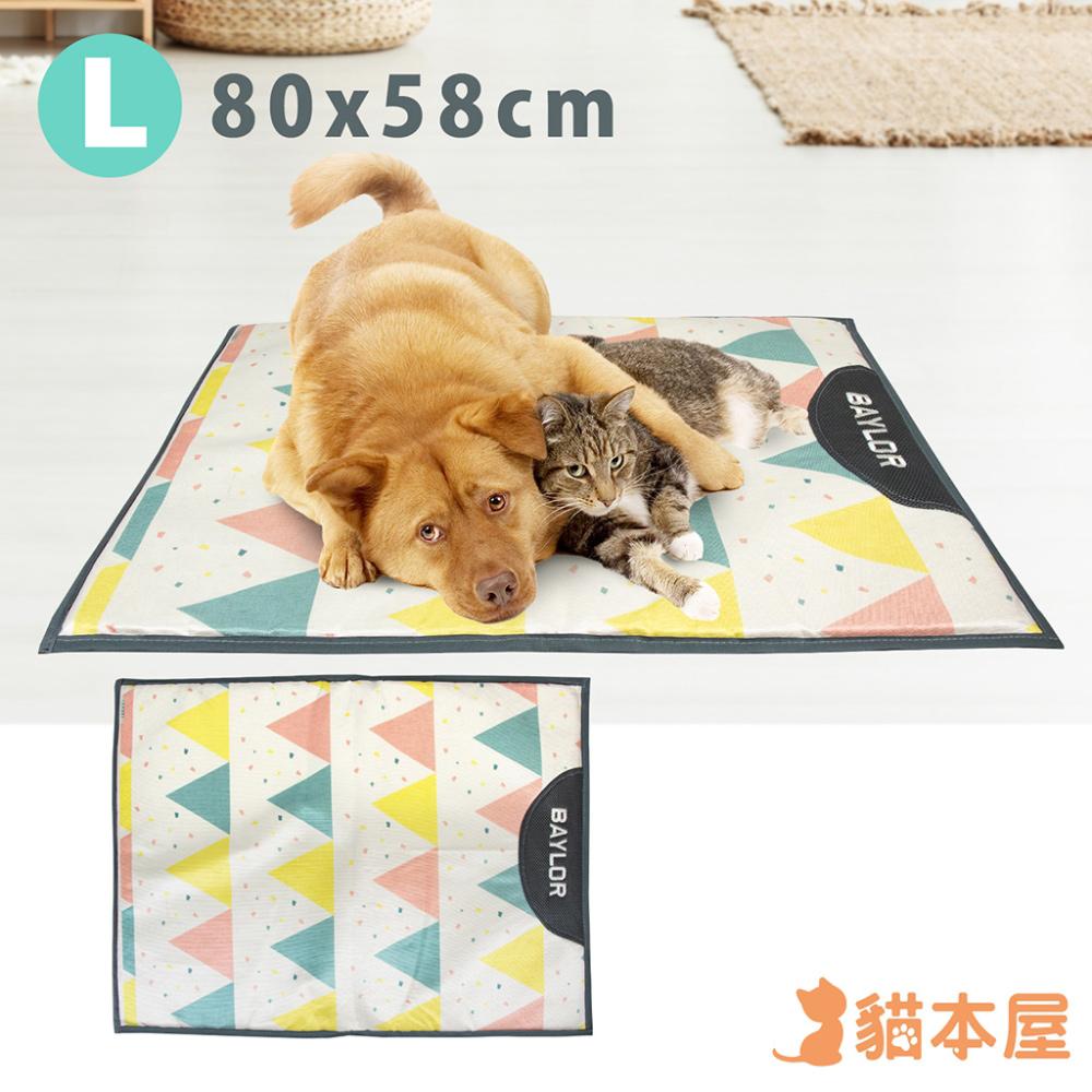 貓本屋 冰絲寵物涼墊(L號/80x58cm)-三角旗