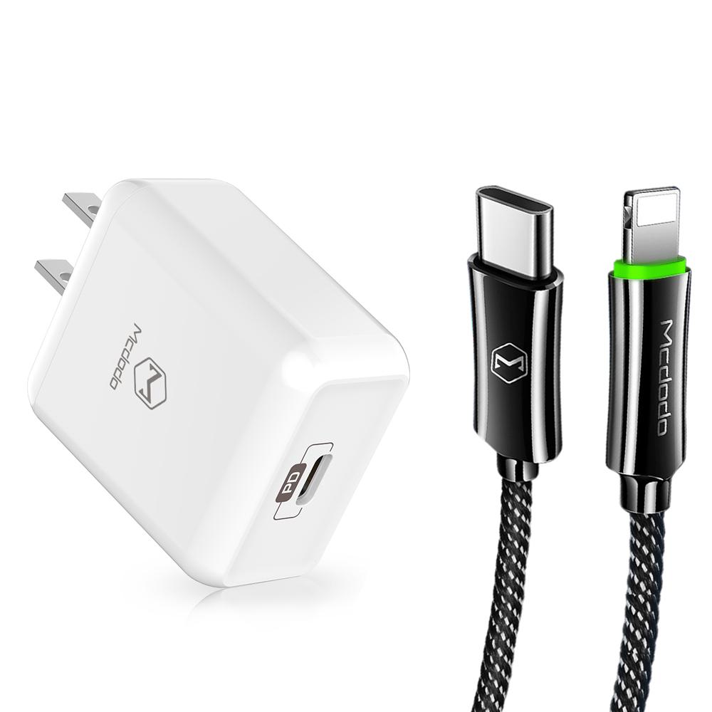 【Mcdodo台灣官方】PD/Lightning/Type-C智能斷電充電線充電器充電頭快充頭閃充頭快充線 麥多多 白色充電頭+黑色充電線