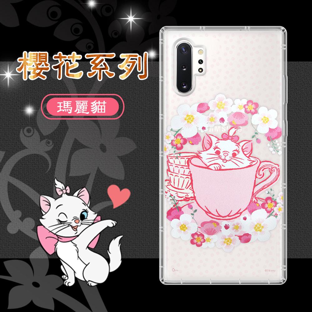 迪士尼授權 櫻花系列 三星 Samsung Galaxy Note10+ 空壓防護手機殼(瑪麗貓)