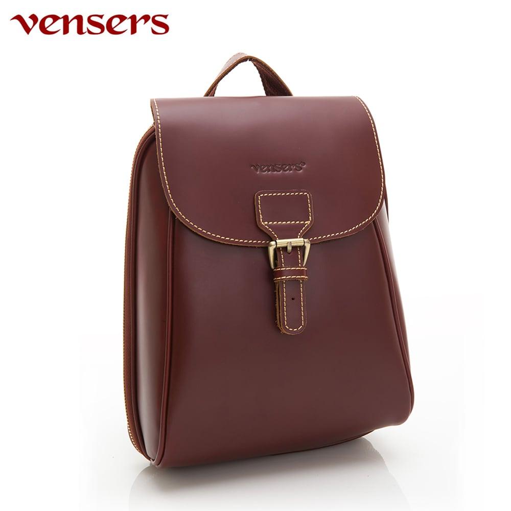 【vensers】小牛皮潮流個性包~後背包(NB1201802棕色)