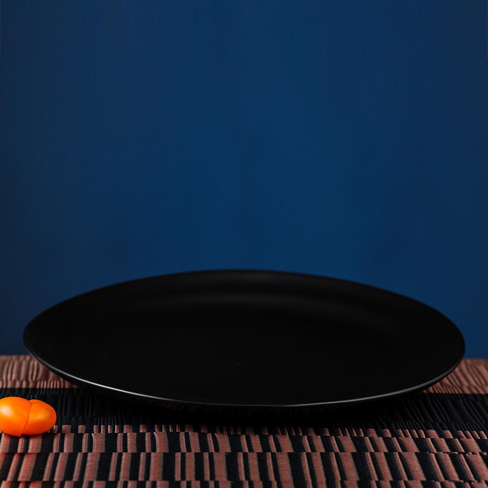 夜空黑曜瓷泥餐盤25CM-生活工場