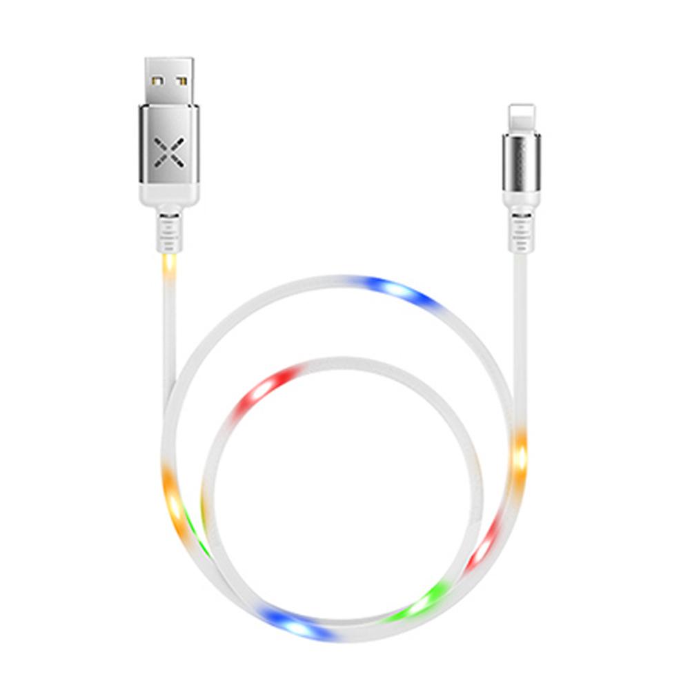 【Mcdodo台灣官方】聲控 iPhone 充電線 彩燈 2A 快充 Lightning 傳輸線 X系列 白色