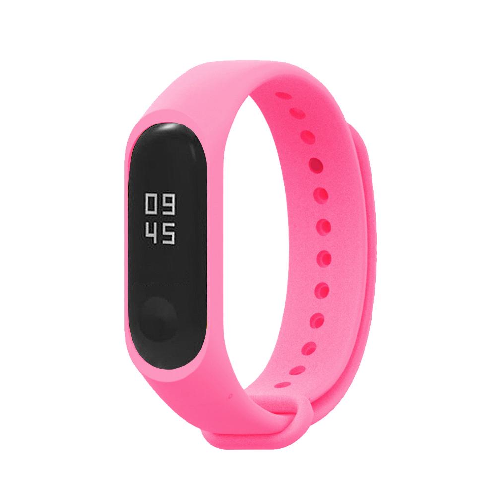 小米手環5代/4代/3代通用 矽膠運動替換錶帶-粉色