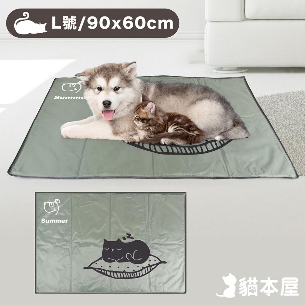 貓本屋 冰晶軟凝膠 寵物降溫墊(L號/90x60cm)-睡覺貓