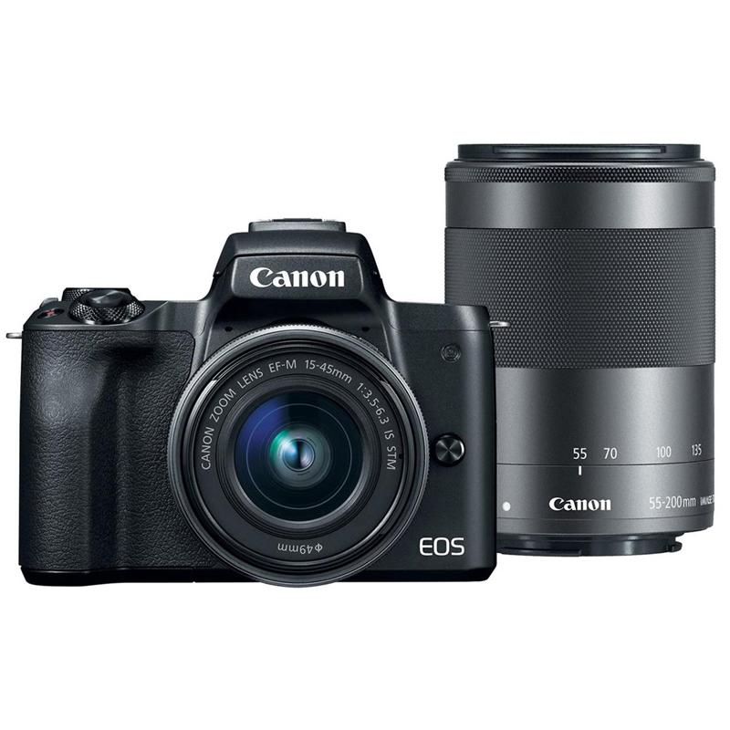 Canon EOS M50 15-45mm+55-200mm 雙鏡組(公司貨)_黑色-送吹球+拭鏡筆+拭鏡布