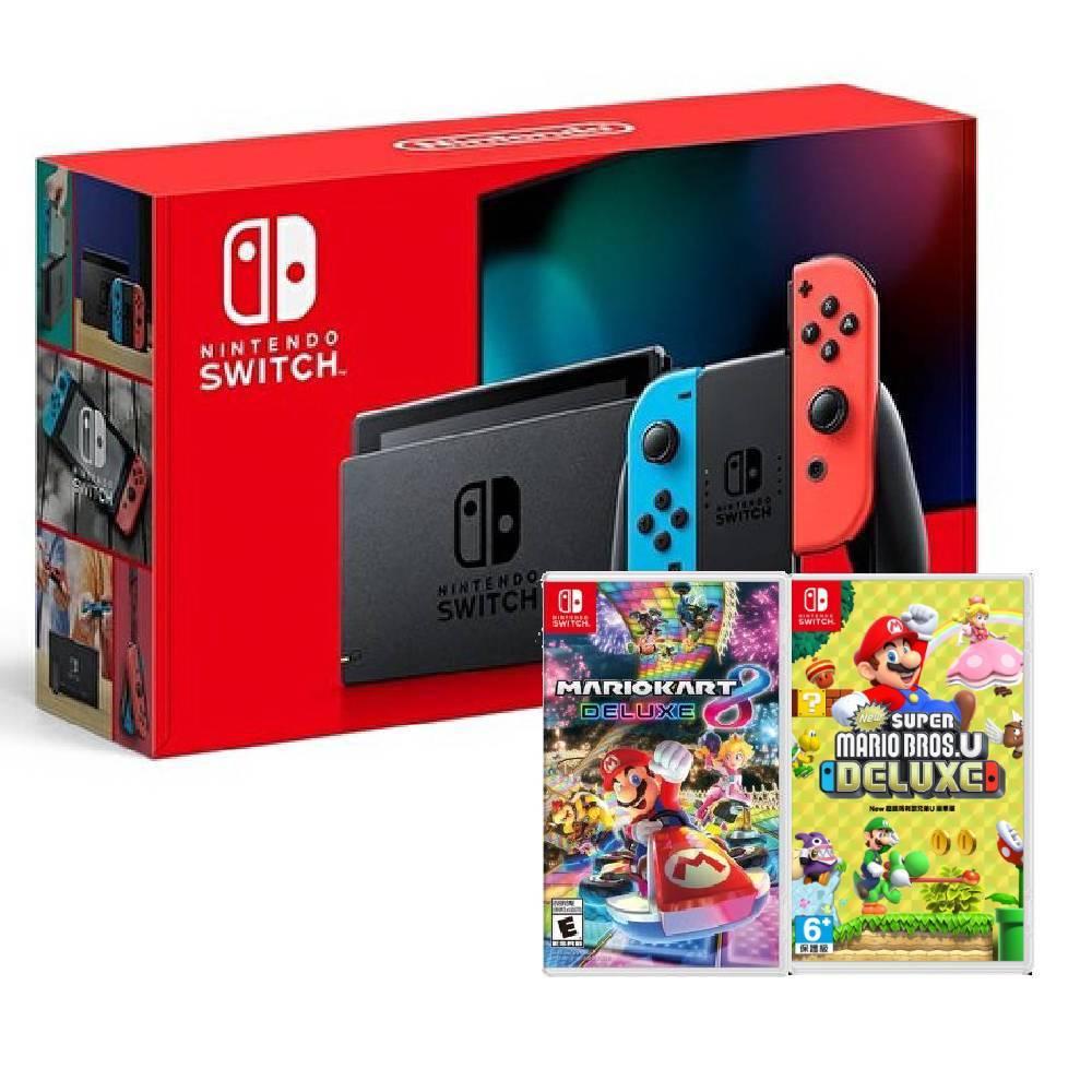 【預購】Nintendo Switch 主機 電光紅藍 (電池加強版)+超級瑪利歐兄弟 U 中文豪華版+瑪利歐賽車 8 豪華版 中文版