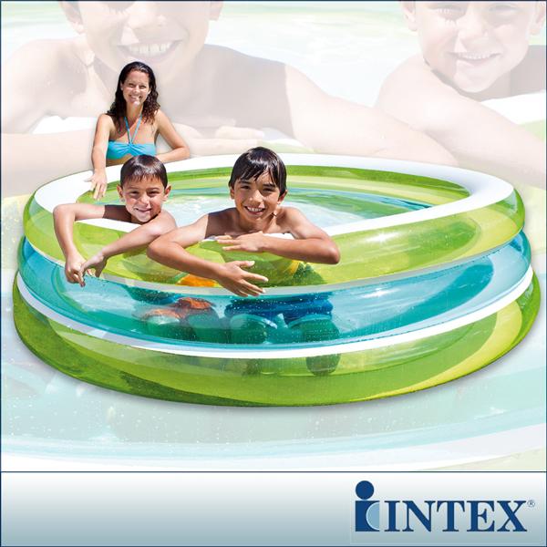 【INTEX】圓型三層透明戲水游泳池(203*203cm)(742L)(57489)