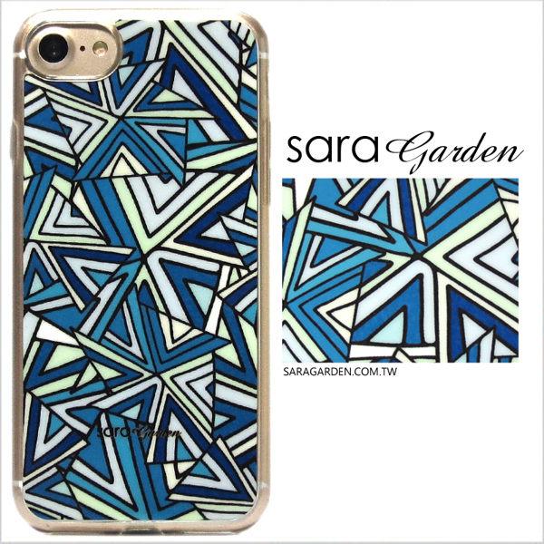 【Sara Garden】客製化 軟殼 蘋果 iPhone7 iphone8 i7 i8 4.7吋 手機殼 保護套 全包邊 掛繩孔 三角幾何圖騰