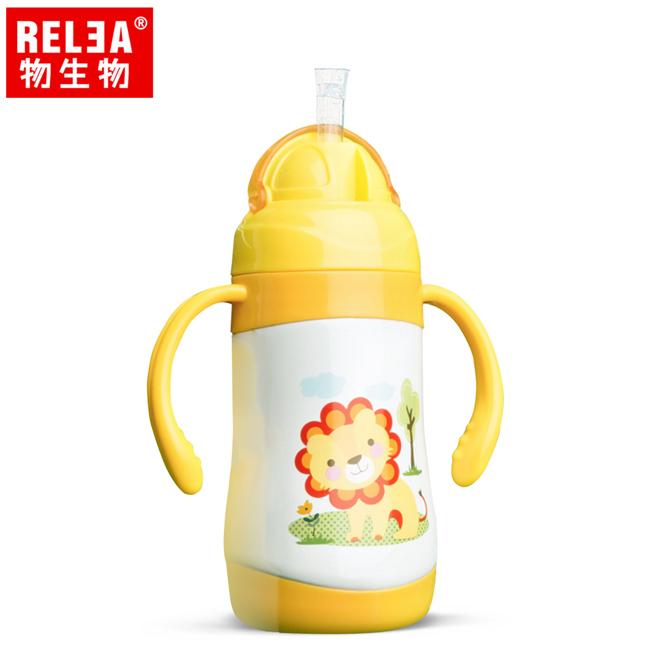 買1送1【香港RELEA物生物】300ml嬰幼兒學飲兩用保溫杯(芒果黃)贈送款顏色隨機出貨