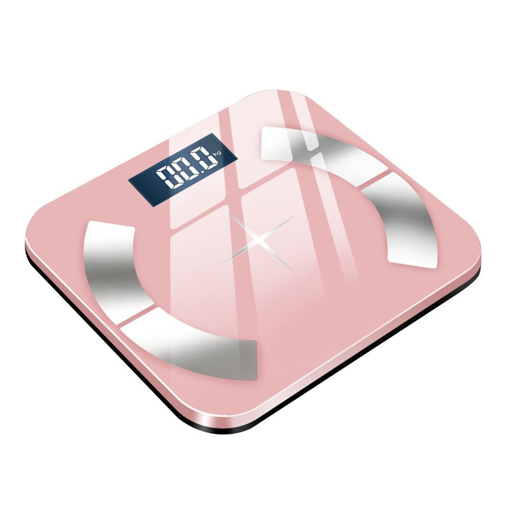 MTK 鋼化玻璃超薄藍牙體重計A1 粉色