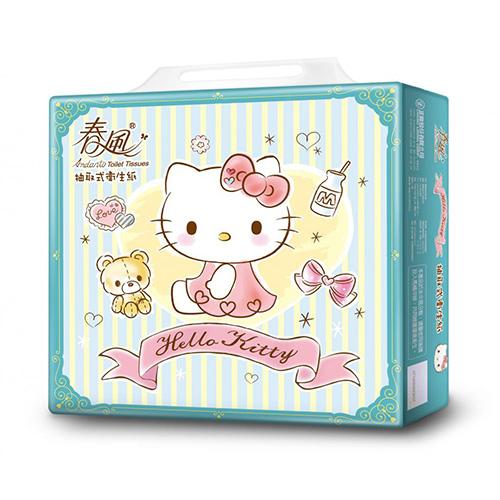 【春風】Hello Kitty湖水綠抽取式衛生紙100抽x10包x7串/箱