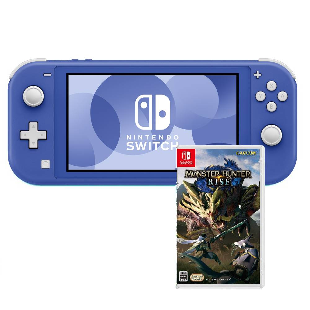 Nintendo Switch Lite藍色(台灣公司貨)+魔物獵人崛起中文版