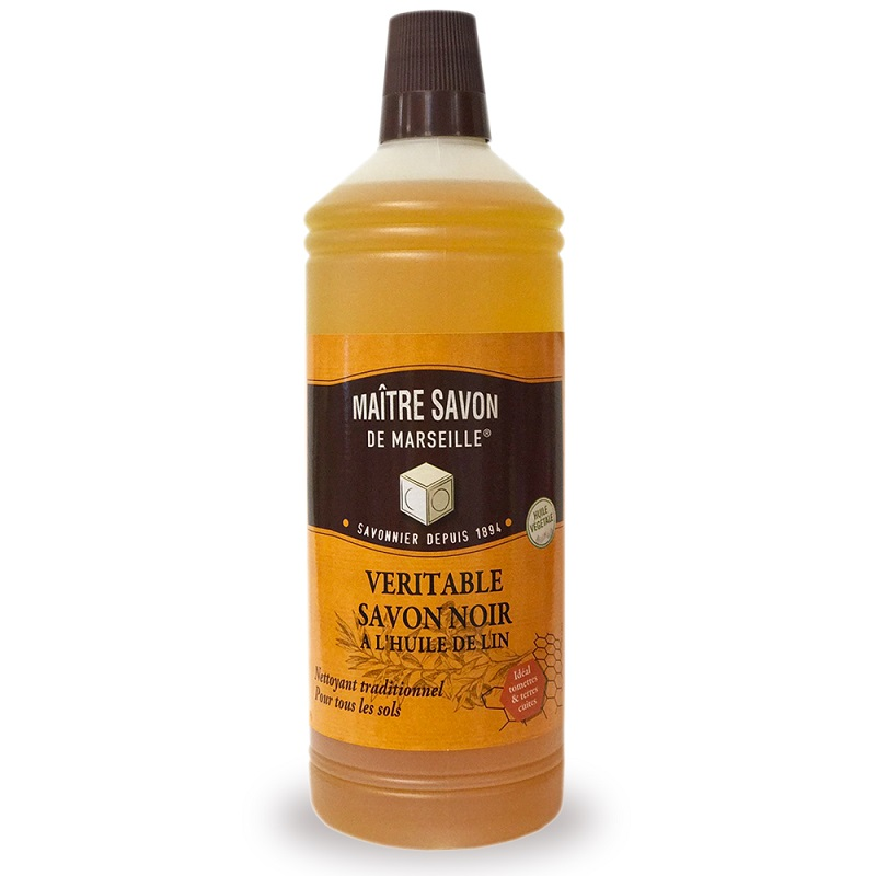 法國玫翠思亞麻油黑肥皂-杏仁 1L-2入