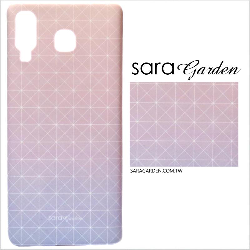 【Sara Garden】客製化 手機殼 三星 A8 Star 漸層藍粉幾何 保護殼 硬殼
