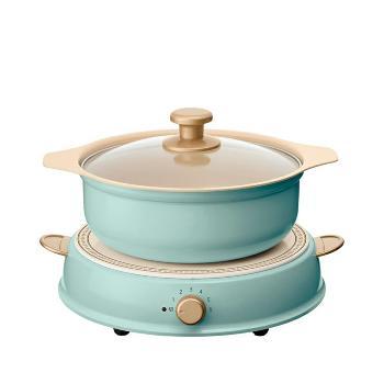 日本IRIS IHLP-R14C-AB Ohyama ricopa IH料理電磁爐組 珊瑚藍 (含陶瓷鍋)
