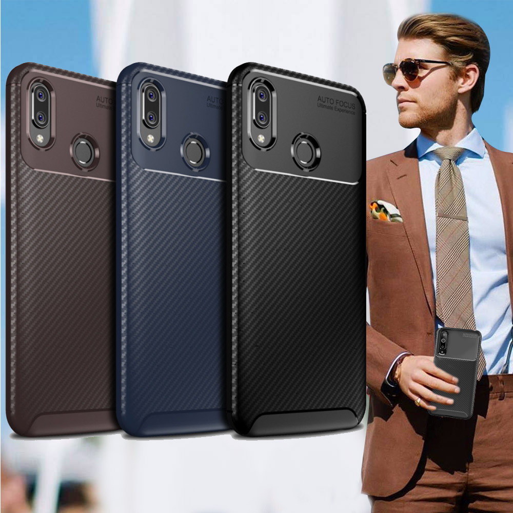 爵士焦點 三星 Samsung Galaxy A30/A20共用款 碳纖維防指紋軟式手機殼(西洋藍)