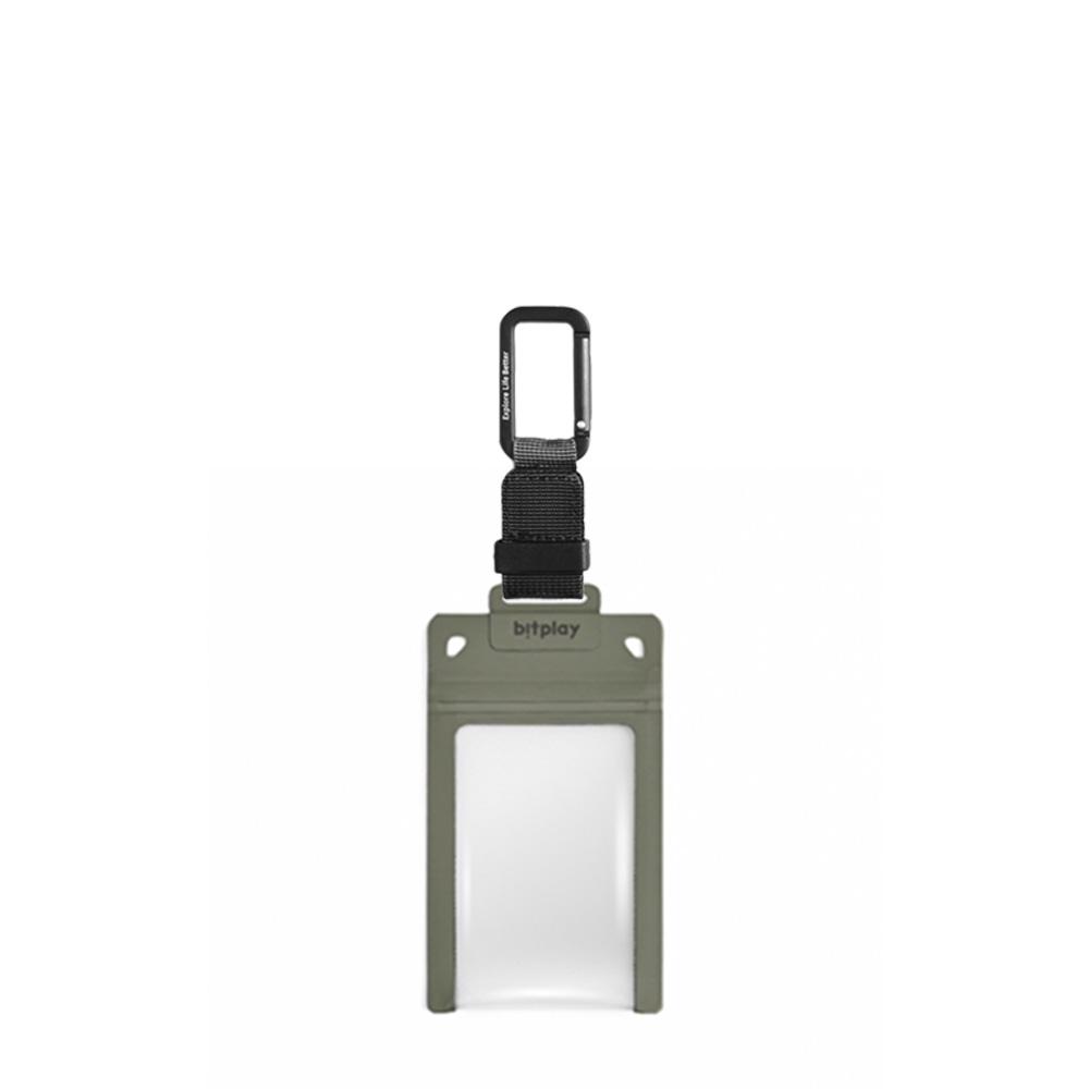 bitplay AquaSeal 防水機能證件套 - 荒野綠 + 訂製掛鉤 - 黑色