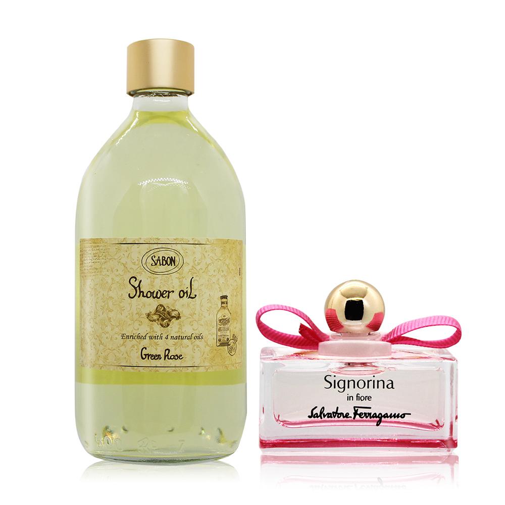 SABON 以色列綠玫瑰沐浴油(500ml)-國際航空版-贈花漾伊人小香(5ml)