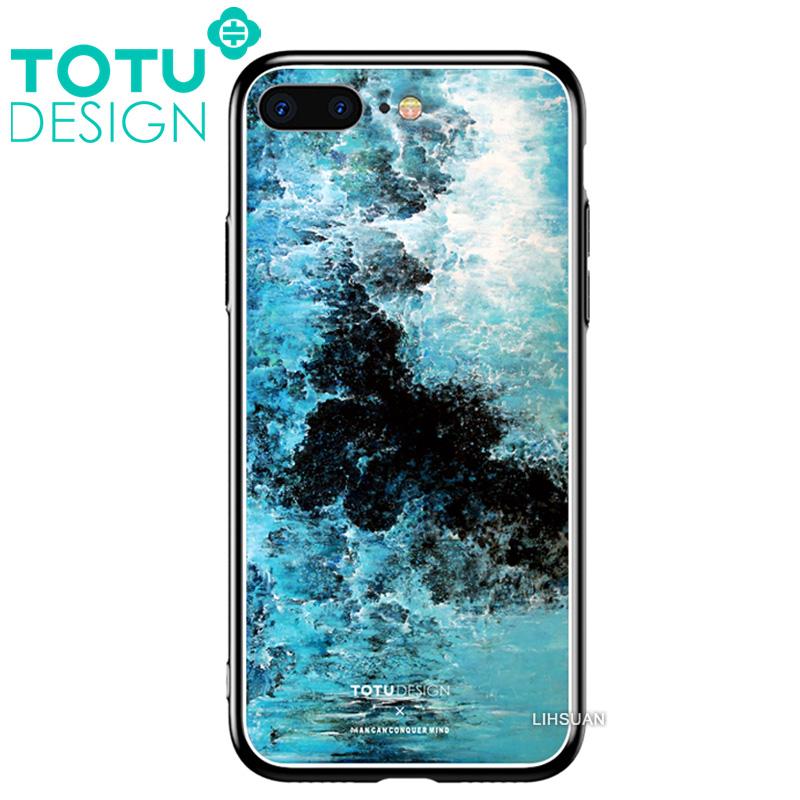 【TOTU台灣官方】鋼化 玻璃 背板 iPhone7 iphone8 i7 i8 4.7吋 手機殼 防摔殼 四角 全包 軟邊 掛繩孔 浪花