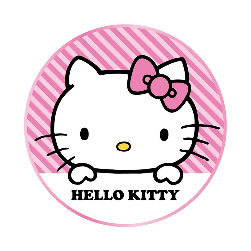 【正版授權】Hello Kitty 金屬邊框玻璃面無線充電盤-條紋(隨機搭贈同品牌充電頭)