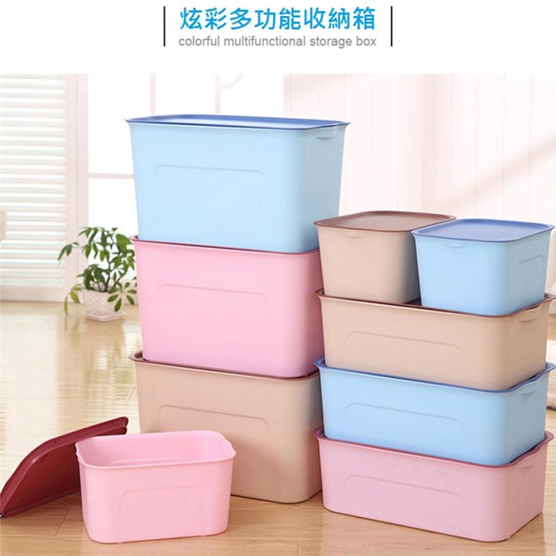 日系磨砂加厚帶蓋萬用儲物收納箱三件組-粉紅