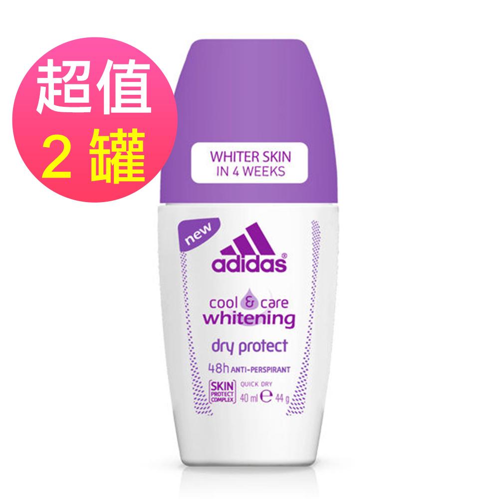 adidas愛迪達 女用制汗香體滾珠(美白清爽)x2罐(40ml/罐)
