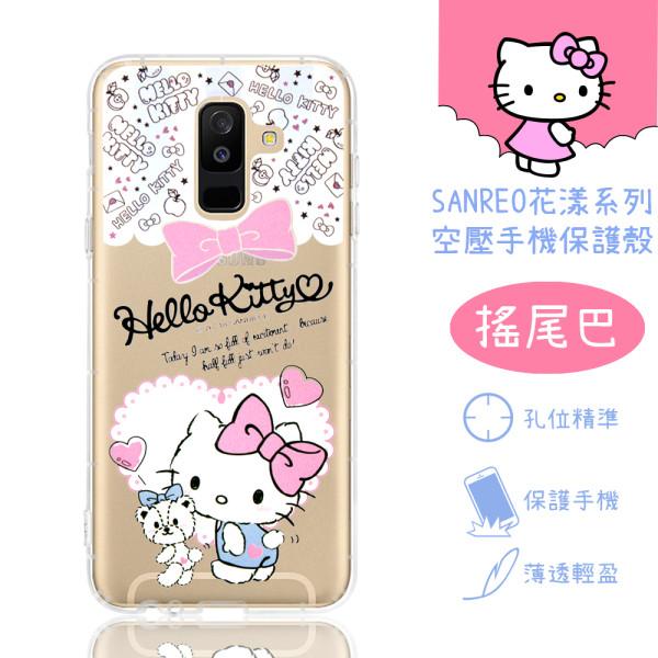 【Hello Kitty】Samsung Galaxy A6+ / A6 Plus 花漾系列 氣墊空壓 手機殼(搖尾巴)