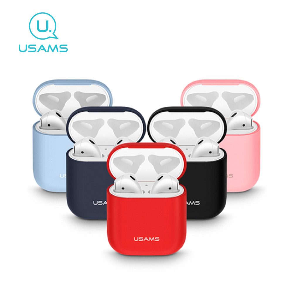 USAMS AirPods耳機液態矽膠套 BH502 - 紅色