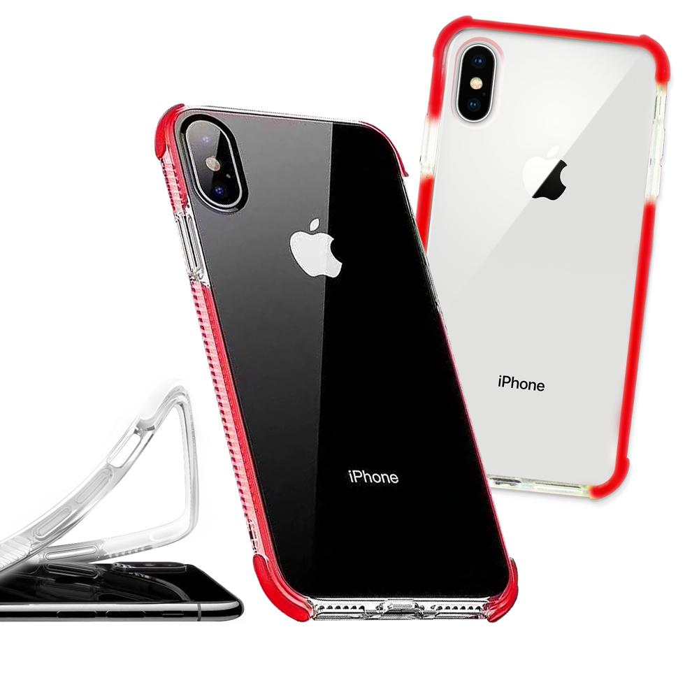 iPhone Xs Max 6.5吋 彩虹多色邊條可換式防摔手機殼(傳奇紅)