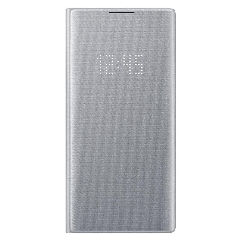 SAMSUNG Galaxy Note10+ LED皮革翻頁式皮套 銀