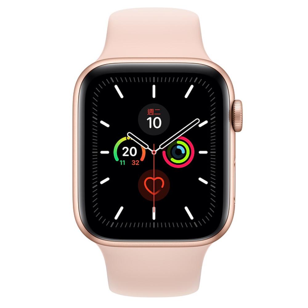 Apple Watch S5 GPS 44mm 金色鋁金屬-粉沙色運動型錶帶