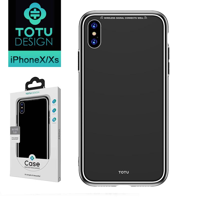 【TOTU台灣官方】 iPhoneX/XS手機殼 iX iXS 玻璃防摔殼 風範系列 黑色