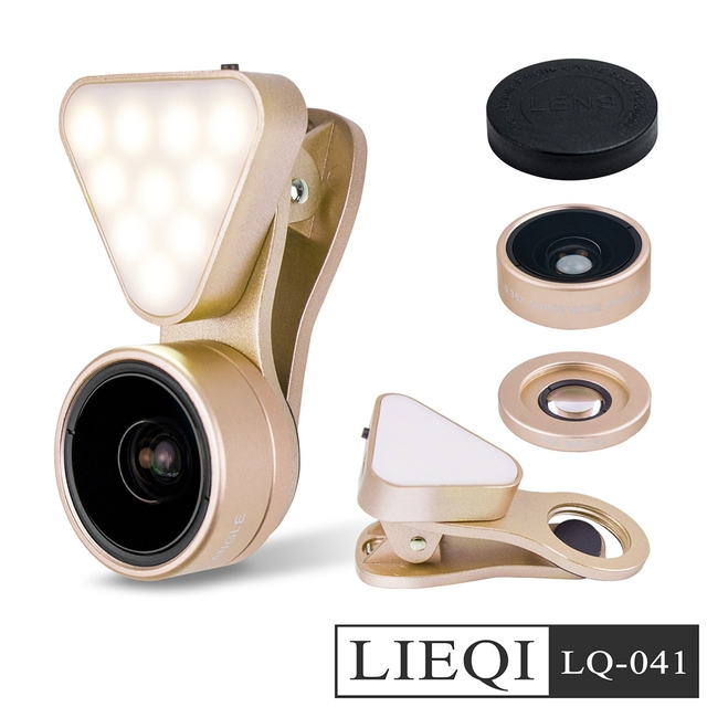 LIEQI 廣角/微距/補光燈三合一 自拍直播夾式鏡頭(LQ-041)-金色