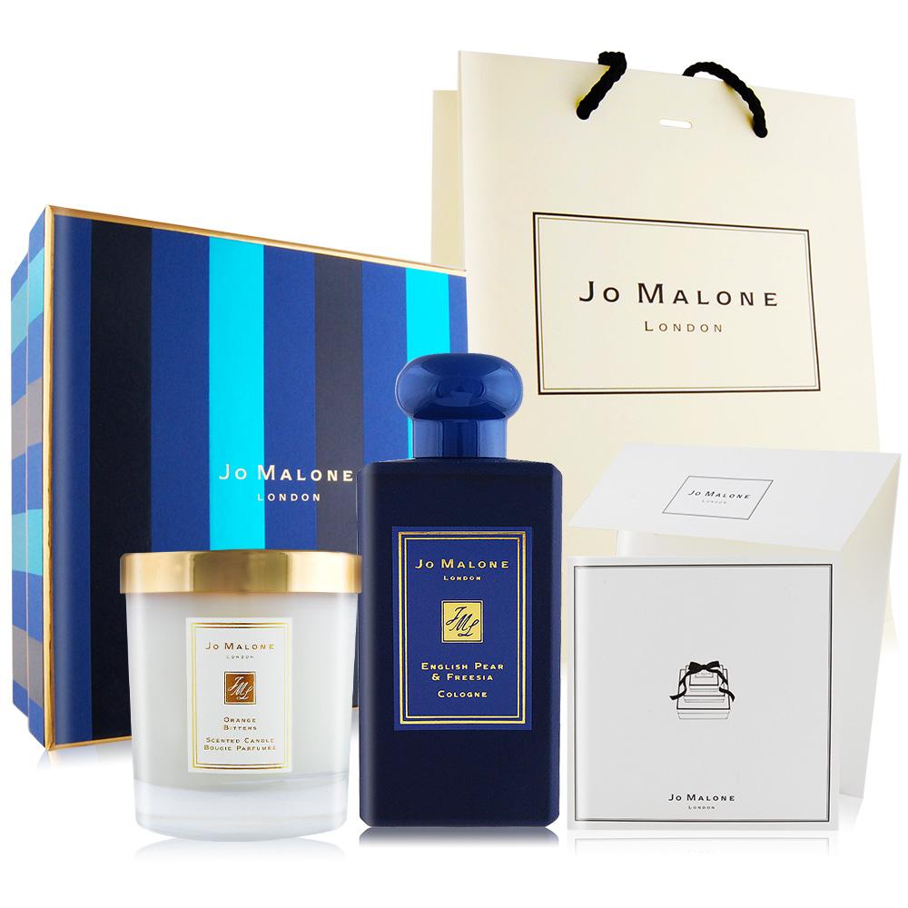Jo Malone 午夜藍限定禮盒(英國梨100ml+苦橙蠟燭)[附限量禮盒+提袋+卡片組]-百貨公司貨
