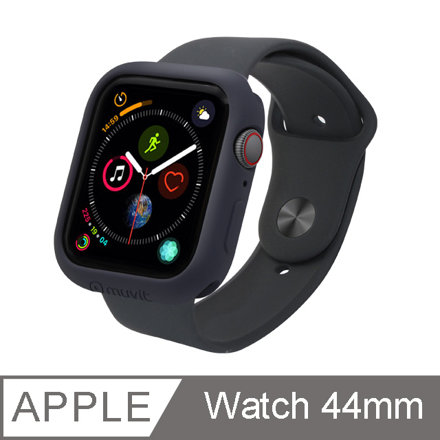 MUVIT Apple Watch Series4 (44mm)耐衝擊保護殼-黑
