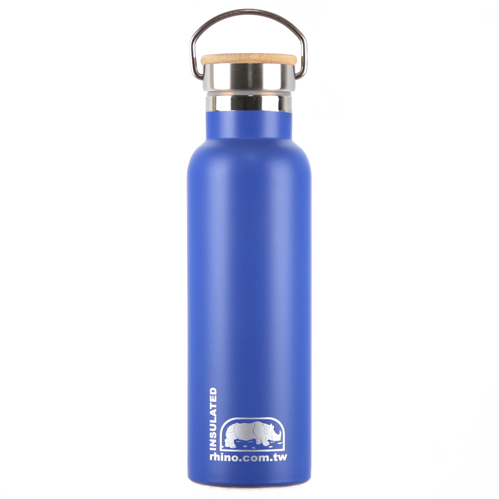 犀牛RHINO Vacuum Bottle雙層不銹鋼保溫水壺(竹片蓋)600ml-莓藍