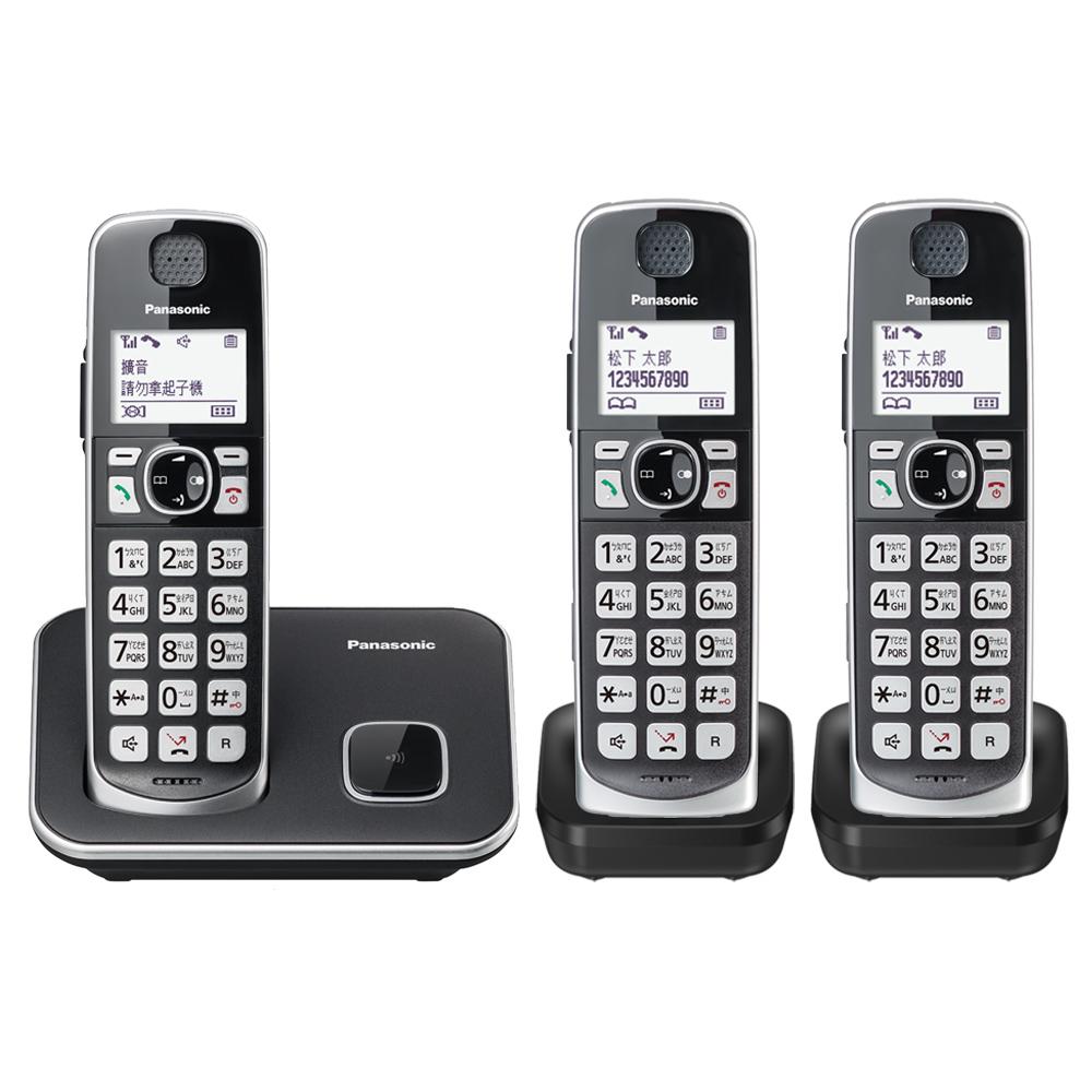 【贈國際牌負離子梳】Panasonic 國際牌 KX-TGE613TW 中文大字鍵三話機無線電話