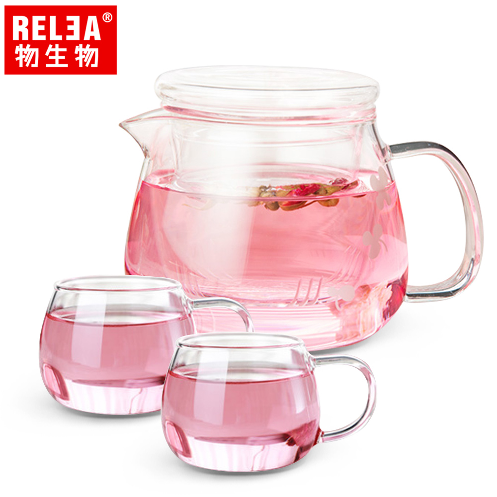 【香港RELEA物生物】500ml小花耐熱玻璃泡茶壺(一壺二杯套裝組)