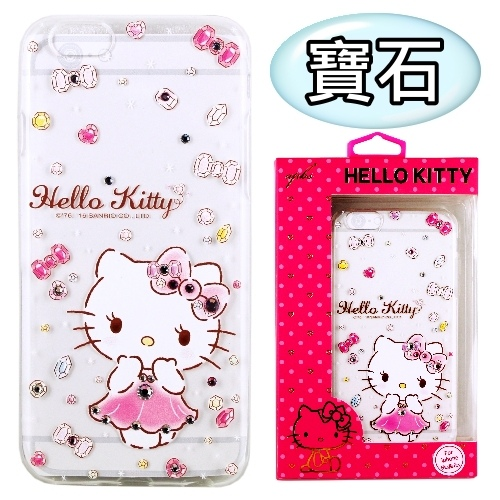 【Hello Kitty】iPhone 6S Plus /6Plus 彩鑽透明保護軟套(寶石)
