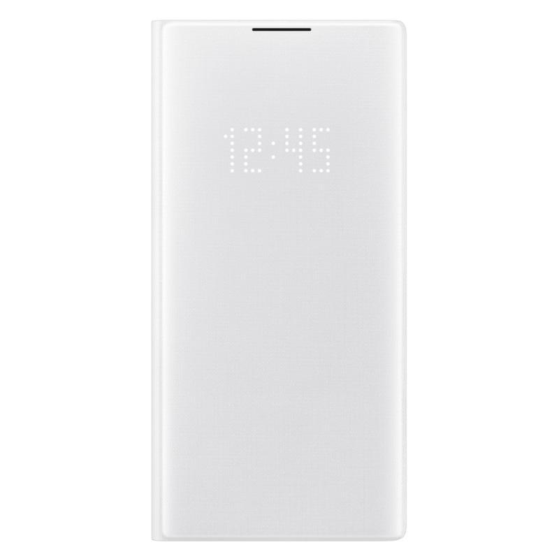 SAMSUNG Galaxy Note10+ LED皮革翻頁式皮套 白