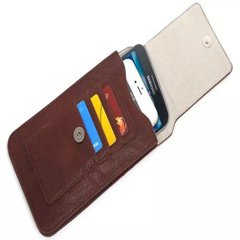 6.3吋 皮質雙層直立式手機套 腰扣式 皮帶式 帶掛勾 可插卡 可放兩支手機 -棕色
