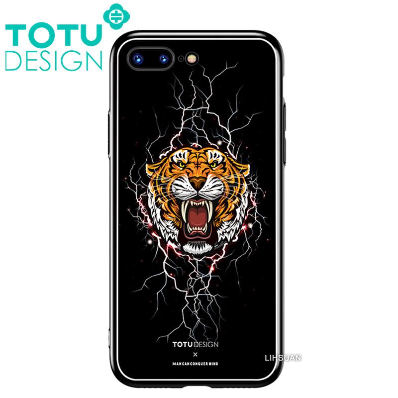 【TOTU台灣官方】鋼化 玻璃 背板 iphone7plus iphone8plus i7+ i8+ 手機殼 防摔殼 四角 全包 軟邊 掛繩孔 暗黑虎頭