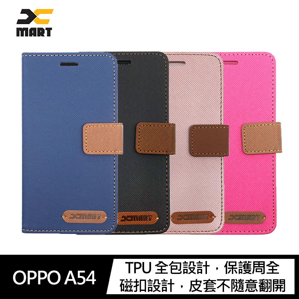 XMART OPPO A54 斜紋休閒皮套(桃紅)