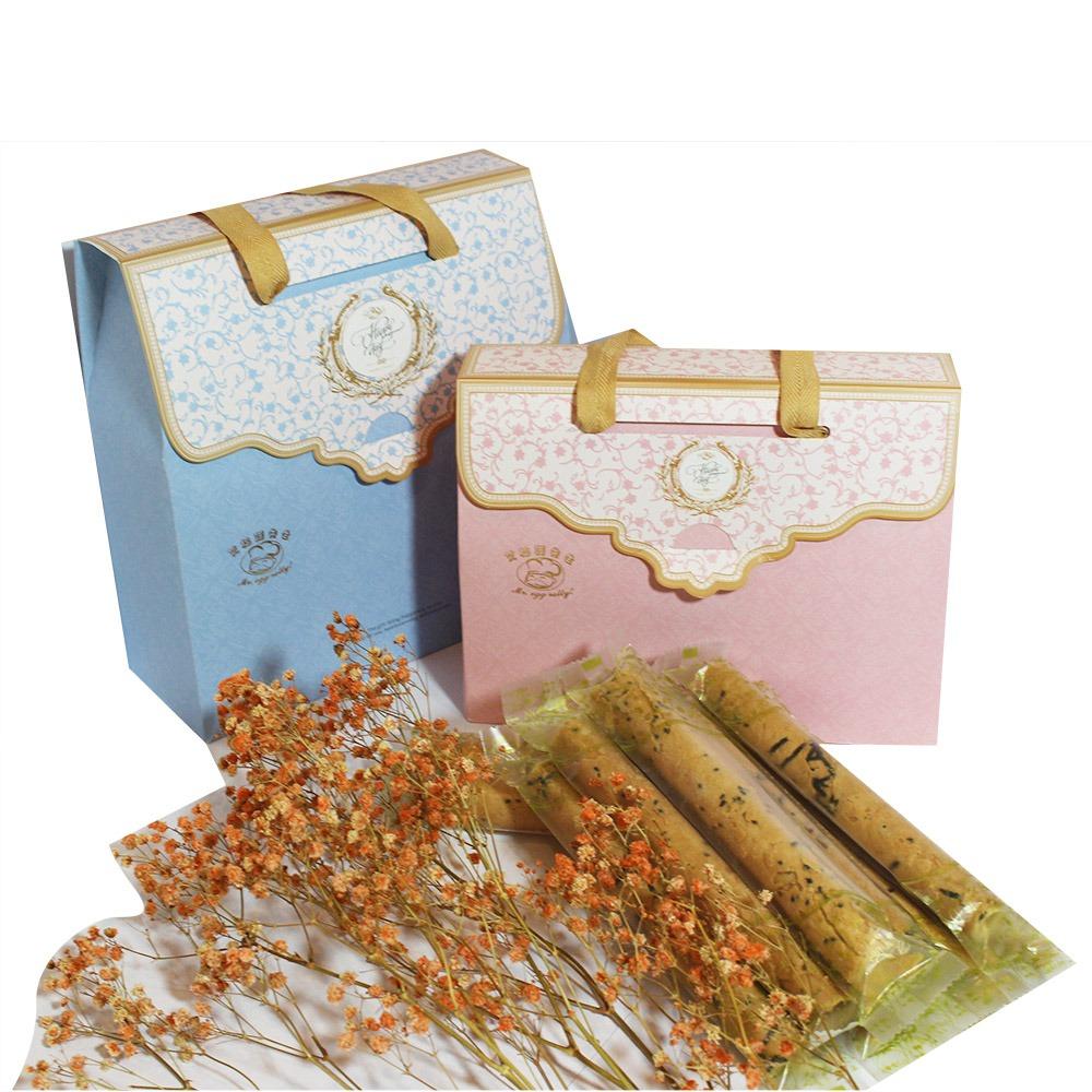 艾格諾先生手工蛋捲 幸福禮盒 (原味+玫瑰)單支袋包裝30入