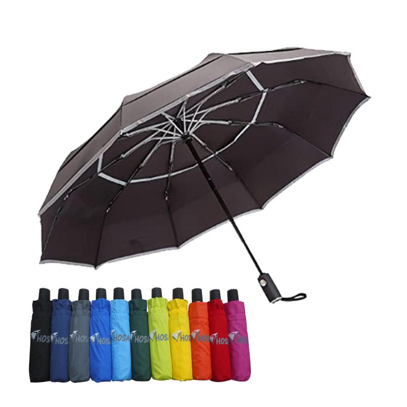【HOSA】安全雙反光自動傘-黑色
